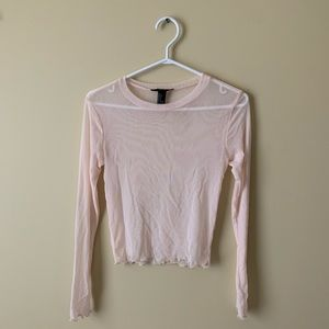 Light Pink Mesh Top with Lettuce Hem